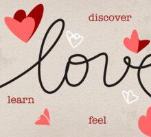 Love, Butterfly Hearts & Text Unique Valentine Sticker