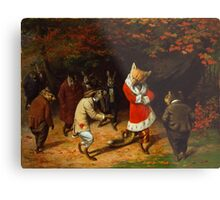 William Holbrook Beard - His Majesty Receives 1885. animals portrait: beasts, animals, foxes, hamster, Majesty, hares, costume, bathrobe, forest, trees, fantasy Metal Print