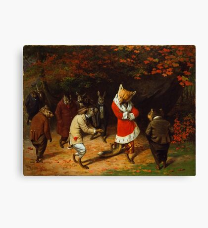 William Holbrook Beard - His Majesty Receives 1885. animals portrait: beasts, animals, foxes, hamster, Majesty, hares, costume, bathrobe, forest, trees, fantasy Canvas Print
