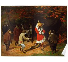 William Holbrook Beard - His Majesty Receives 1885. animals portrait: beasts, animals, foxes, hamster, Majesty, hares, costume, bathrobe, forest, trees, fantasy Poster