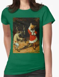 William Holbrook Beard - His Majesty Receives 1885. animals portrait: beasts, animals, foxes, hamster, Majesty, hares, costume, bathrobe, forest, trees, fantasy Womens Fitted T-Shirt