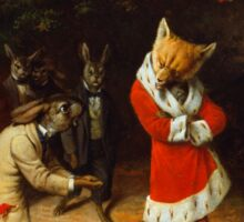 William Holbrook Beard - His Majesty Receives 1885. animals portrait: beasts, animals, foxes, hamster, Majesty, hares, costume, bathrobe, forest, trees, fantasy Sticker