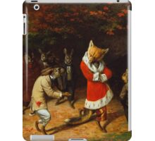 William Holbrook Beard - His Majesty Receives 1885. animals portrait: beasts, animals, foxes, hamster, Majesty, hares, costume, bathrobe, forest, trees, fantasy iPad Case/Skin