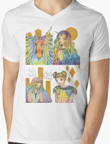 Rainbow Fantasy Girls with Gold Collection [Watercolor Manga Art] Mens V-Neck T-Shirt