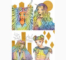 Rainbow Fantasy Girls with Gold Collection [Watercolor Manga Art] Unisex T-Shirt