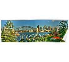 Sunny Sydney Harbour pano 1 Poster