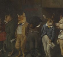 William Holbrook Beard -  School Rules. animals portrait: beasts, animals, foxes, hamster,  School, hares, costume, teacher, students, lesson, fantasy Sticker