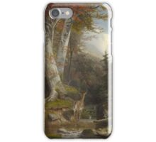 William Holbrook Beard -  Mountain Stream And Deer, 1865. Forest view: forest , trees,  fauna, nature, birds, animals, flora, flowers, plants, field, weekend iPhone Case/Skin