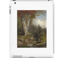 William Holbrook Beard -  Mountain Stream And Deer, 1865. Forest view: forest , trees,  fauna, nature, birds, animals, flora, flowers, plants, field, weekend iPad Case/Skin