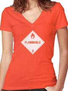 HAZMAT Class 3: Flammable Women's Fitted V-Neck T-Shirt