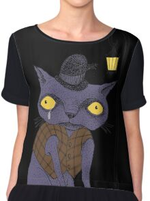 Sad Cat with Moonlight Memories Women's Chiffon Top