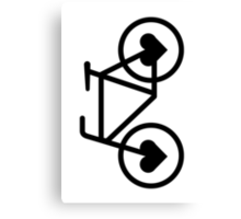 Black Bicycle Love - Fixie Hearts Canvas Print