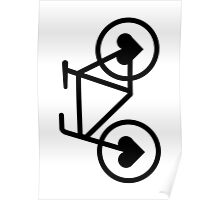 Black Bicycle Love - Fixie Hearts Poster