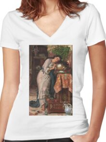William Holman Hunt - Isabella And The Pot Of Basil 1867 Women's Fitted V-Neck T-Shirt