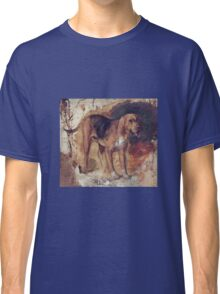 William Holman Hunt - Study Of A Bloodhound. Dog painting: cute dog, dogs, doggy, lucky, pets, wild life, animal, smile, little small, kids, nature Classic T-Shirt