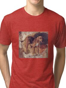 William Holman Hunt - Study Of A Bloodhound. Dog painting: cute dog, dogs, doggy, lucky, pets, wild life, animal, smile, little small, kids, nature Tri-blend T-Shirt