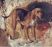 William Holman Hunt - Study Of A Bloodhound. Dog painting: cute dog, dogs, doggy, lucky, pets, wild life, animal, smile, little small, kids, nature Photographic Print