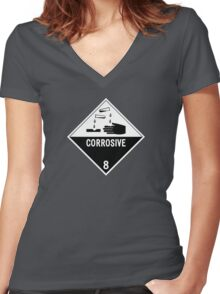 HAZMAT Class 8: Corrosive Women's Fitted V-Neck T-Shirt