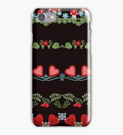 Seamless pattern with hearts, flowers and mushrooms on white background iPhone Case/Skin