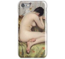 William Merritt Chase - A Modern Magdalen. Woman portrait: sensual woman, model, nude, chest, young, silk,  Magdalen, Modern, love, sexy lady, erotic pose iPhone Case/Skin
