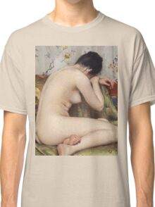 William Merritt Chase - A Modern Magdalen. Woman portrait: sensual woman, model, nude, chest, young, silk,  Magdalen, Modern, love, sexy lady, erotic pose Classic T-Shirt