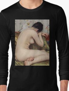 William Merritt Chase - A Modern Magdalen. Woman portrait: sensual woman, model, nude, chest, young, silk,  Magdalen, Modern, love, sexy lady, erotic pose Long Sleeve T-Shirt