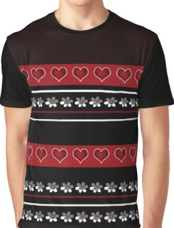 Seamless white floral and hearts pattern on red black background Graphic T-Shirt
