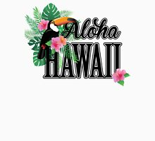Aloha Hawaii. Toucan, palm leaves and hibiscus flowers. Women's Fitted Scoop T-Shirt