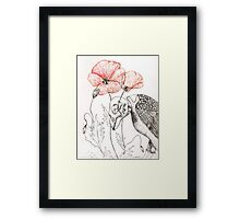 Sparrow Skeleton with Poppies Framed Print