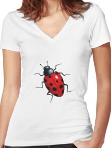 Big Ladybug, Ladybird, Bright Red Insect, Wildlife Art Women's Fitted V-Neck T-Shirt
