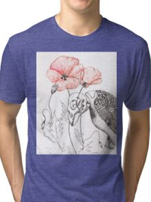 Sparrow Skeleton with Poppies Tri-blend T-Shirt