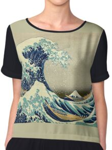 Hokusai, The Great Wave off Kanagawa, Japan, Japanese, Wood block, print Chiffon Top