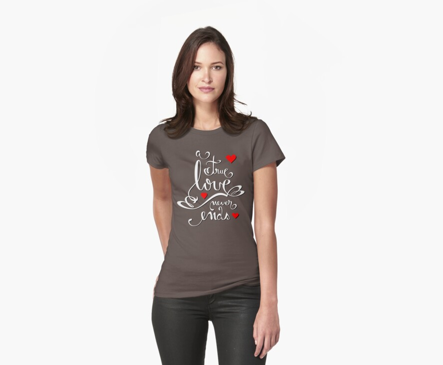 Valentine Love Calligraphy and Hearts V2 Tee  by ruxique