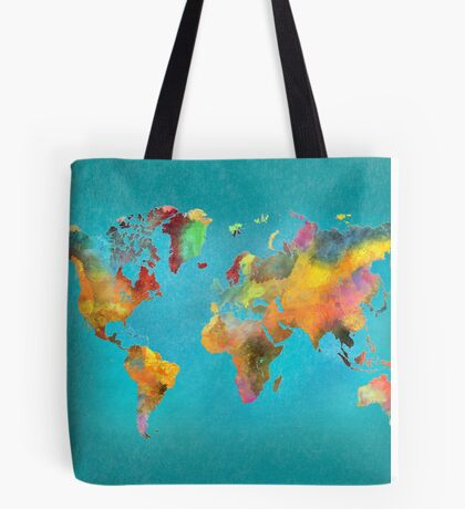 World map blue Tote Bag