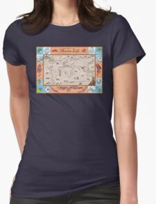 Ancient Marine Life map Womens Fitted T-Shirt