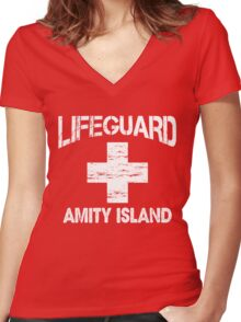 Life Guard Amity Island Women's Fitted V-Neck T-Shirt