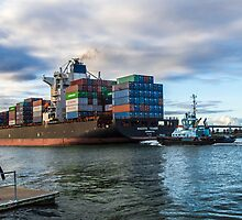 Container Ship. by Bette Devine