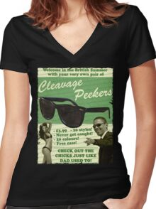 Cleavage Peekers Women's Fitted V-Neck T-Shirt