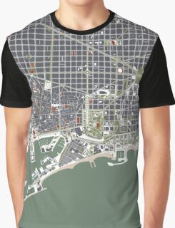 Barcelona city map engraving Graphic T-Shirt