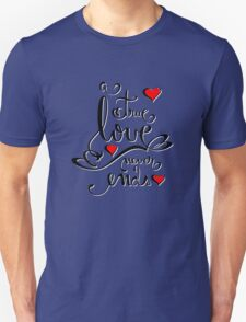 Valentine Love Calligraphy and Hearts Tee Unisex T-Shirt