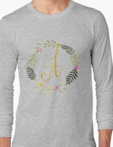 Floral and Gold Initial Monogram A Long Sleeve T-Shirt
