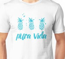 Pura Vida Costa Rica Pineapples in Blue Unisex T-Shirt