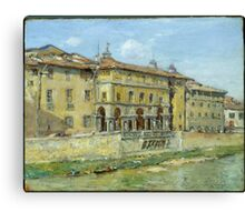 William Merritt Chase - Florence 1907. Urban landscape: city view, streets, building, house, Florence, cityscape, architecture, construction, travel , panorama, buildings Canvas Print