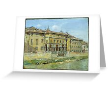 William Merritt Chase - Florence 1907. Urban landscape: city view, streets, building, house, Florence, cityscape, architecture, construction, travel , panorama, buildings Greeting Card