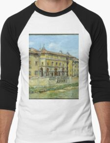 William Merritt Chase - Florence 1907. Urban landscape: city view, streets, building, house, Florence, cityscape, architecture, construction, travel , panorama, buildings Men's Baseball ¾ T-Shirt
