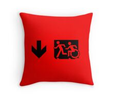 Accessible Means of Egress Icon and Running Man Emergency Exit Sign, Left Hand Down Arrow Throw Pillow