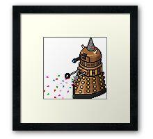 Birthday Dalek - Pixel Art Framed Print