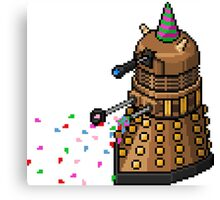 Birthday Dalek - Pixel Art Canvas Print