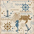 Sea Shore Tote Bag Design With Turtles, And Other Ocean Items by Moonlake
