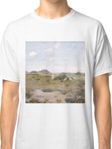 William Merritt Chase - Gathering Wild Flowers 1895. Field landscape: field landscape, nature, Wild, garden, flowers, Gathering , sun, rustic, Wild Flowers, sky, summer Classic T-Shirt